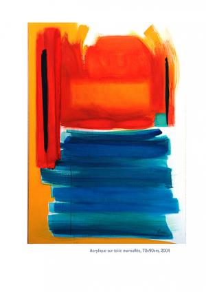 Couchée - Acrylique sur toile marouflée 70x90, 2004