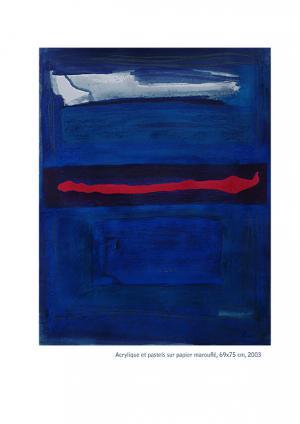 Coulée Rouge - Acrylique et pastels sur papier marouflé 69x75, 2003