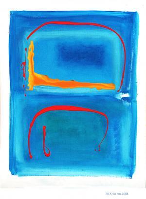 Silhouette Coulée - Acrylique sur toile marouflée 70x90, 2004